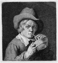 knabe, pfeife an einem kohlebecken entzündend by cornelis van noorde