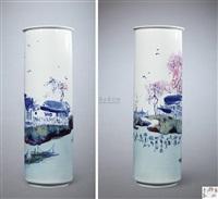 """高温青花斗彩""""水乡""""瓶 (landscape vase) by yu donghua"""