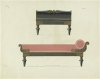 schinkel's möbel-entwürfe in vier heften (13 works) by karl friedrich schinkel