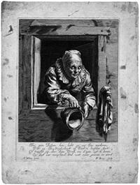 alte frau, einen topf aus dem fenster entleerend (after frans van mieris) by hendrik bary