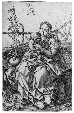 die madonna auf der rasenbank by heinrich aldegrever