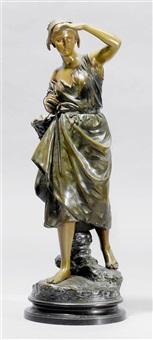 stehende junge fischerin mit korb und angelhaken in der hand by eugène laurent