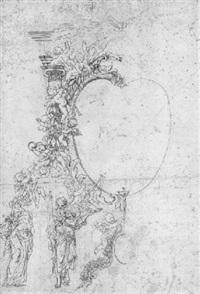 ein altaraufsatz mit heiligenstatuen und putten mit girlanden by egid quirin asam