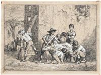 römische kinder beim heimlichen melken einer ziege by arnoldo corrodi