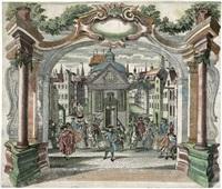 diorama - festliche gesellschaft auf einem kirchplatz (6 works) by jeremias wachsmuth
