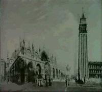 venedig-markusplatz mit reichen personenstaffagen by richard peisker-kreuschner