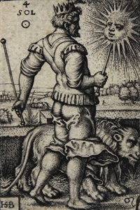 4 bl. aus der folge der planeten (vorhanden: sol, venus, mercurius, luna) by hans sebald beham
