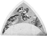 kleine amoretten mit emblemen von verschiedenen göttern, aus den stichkappen in der villa farnesina (portfolio of 14 after raphael) by gérard audran