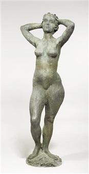 stehender weiblicher akt mit händen hinter dem kopf verschränkt by arnold d' altri