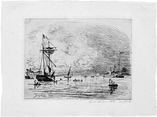 sortie du port de honfleur by johan barthold jongkind