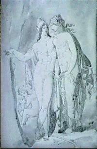 paris, staende, visar oinone sett trohetslofte, inristat i en tradstams bark by jonas akerstrom