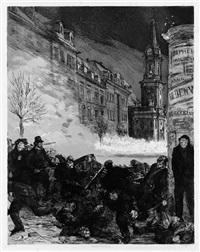 märztage ii: barrikadenkampf, pl. 9 (from dramen) by max klinger