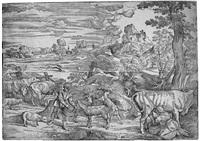 die landschaft mit der melkenden kuhhirtin (after titian) (+ herkules mit dem nemëischen löwen, after raphael; 2 works) by niccolo boldrini