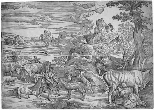 die landschaft mit der melkenden kuhhirtin after titian herkules mit dem nemëischen löwen after raphael 2 works by niccolo boldrini
