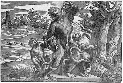 der affenlaokoon after titian by niccolo boldrini