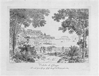 ansichten aus italien: veduta di chiaja; grotta di pozzuoli; veduta de posilipo; veduta generale di napoli da capodichino (4 works) by wilhelm jakob huber