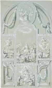 altarentwurf mit dem pfingstwunder und vier weiteren szenen aus den leben christi und mariae by martino altomonte