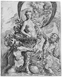 fortuna von pluto, jupiter und neptun reichtümer empfangend (after claude vignon) by pierre brebiette
