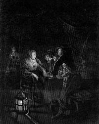 holländisches interieur bei kerzenschein mit zwei offizieren und einer schlafenden frau by william (captain) baillie