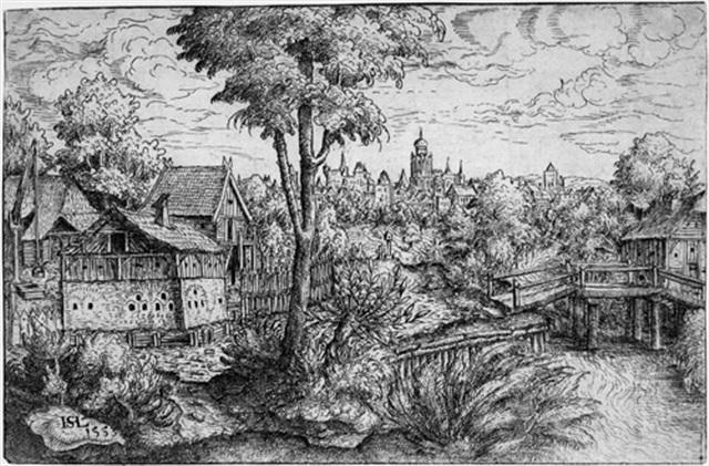 landschaft mit bauerngehöft und holzbrücke by hans sebald lautensack