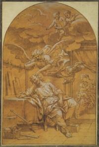 joseph, in seiner werkstatt schlafend, mit engeln by pierre le sueur the younger