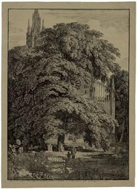 gotische kirche hinter bäumen by karl friedrich schinkel