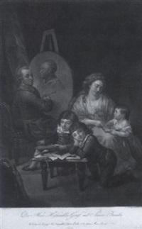 anton graf an der staffelei sitzend, neben ihm seine frau und drei kinder by charles townley