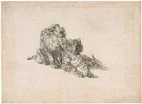 löwe und tiger (+ drei löwen in einer landschaft; 2 works) by johann nepomuk rauch