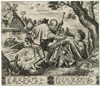 zwei blinde, in einen bach fallend by hieronymus bosch