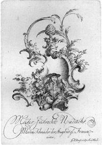 cartouche mit dem schneider nadelöhr by johann friedrich bause