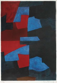komposition in rot, blau und schwarz by serge poliakoff