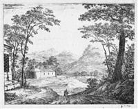 berglandschaft mit kapelle im tal by heinrich von rapp