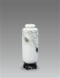 柳条蝉鸣 (singing cicada in the willow, a vase) by xu zhongnan
