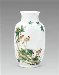 三友图 (pine, plum and orchid,a vase) by xu zhongnan