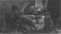 selbsbildnis des künstlers auf dem bette liegend, den fuß verbunden, in betrachtung einer zeichnung by joseph fischer