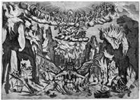 allegorische darstellung der hölle mit einem dreiköpfigen luzifer by epifanio d' alfiano