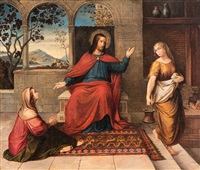 christus bei martha und maria by august remz