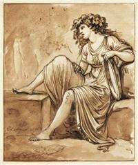 frau in antikischem gewand mit einem tamburin by carlo labruzzi
