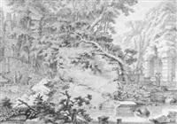 ruinen eines römischen nymphäums mit figürlicher staffage by johannes de bosch