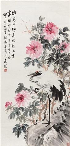 牡丹仙鹤 by chen baihe