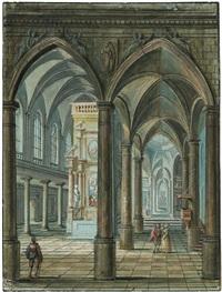innenansicht einer gotischen kirche mit barocken altären und staffagefiguren by monogrammist ms