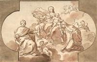 madonna mit kind auf wolken, von zwei heiligen und engeln umgeben by antonio de dominici