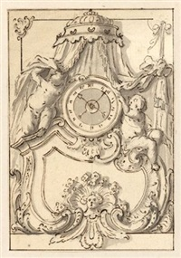 entwürfe für standuhren (2 designs for clocks and 2 designs for ceilings, lrgr; 4 works)) by willem doudyns