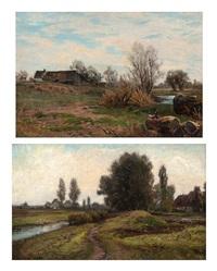 zwei landschaften (2 works) by carl weber