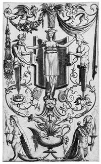 groteskenornament mit satyrn, einer frau auf einem löwenkopf stehend und mischwesen by cornelis bos