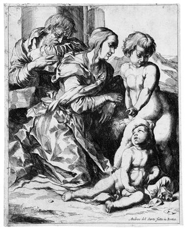 diffusa est gratia in labys tuis die heilige familie mit dem johannesknaben after andrea del sarto by pierre brebiette