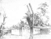holländische landschaft mit einer ziehbrücke über einem kanal by steven goble