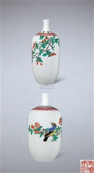 "古彩""太平满堂""瓶 (flower and bird vase) by an deyu"