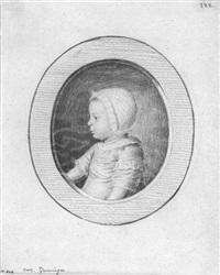 bildnisse einer kleinfamilie (vater, mutter und kind, jeweils im profil nach links) (3 works) by heinrich pfenninger