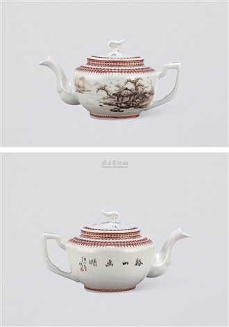 粉彩山水茶壶 landscape teapot by wang xiaoting